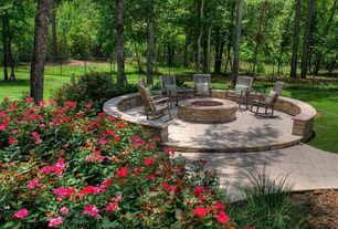 Transitional Landscape/Yard with Fence, exterior tile floors, Fire pit, International Caravan Traditional Porch Rocking Chair