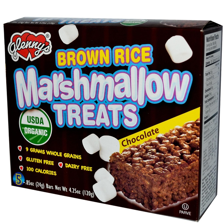 Glenny's, Brown Rice Marshmallow Treats, Chocolate, 5 Bars, 0.85 oz (24 g) Each - iHerb.com