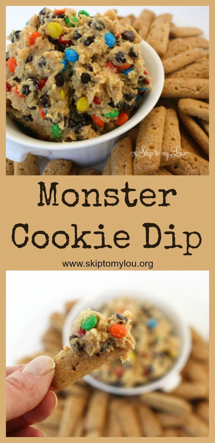 The best dessert dip ever! Serve this monster cookie dough dip with graham cracker stick or even just a spoon. Perfect for a party. #dessert #dip #recipe