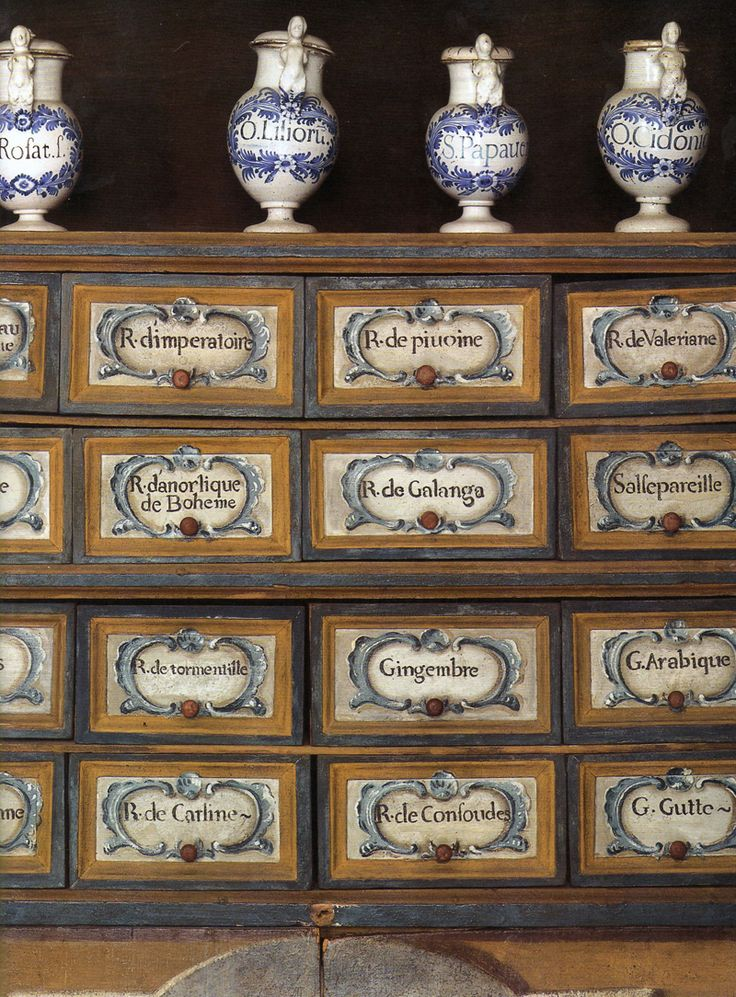 This apothecary cabinet is in the 18th-century pharmacy of the Hôtel-Dieu in Carpentras.