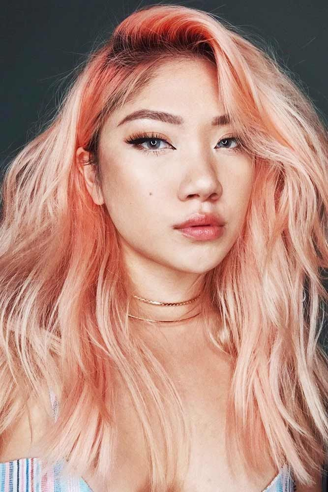 Peachy Pink With Orange Strands Pinkhair Highlights