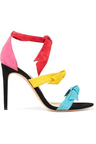 Heel measures approximately 100mm/ 4 inches Multicolored suede Ties at ankle Imported