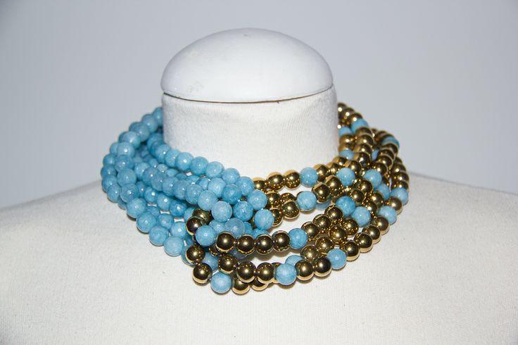 Perla de cobre dorada con ágatas turquesas