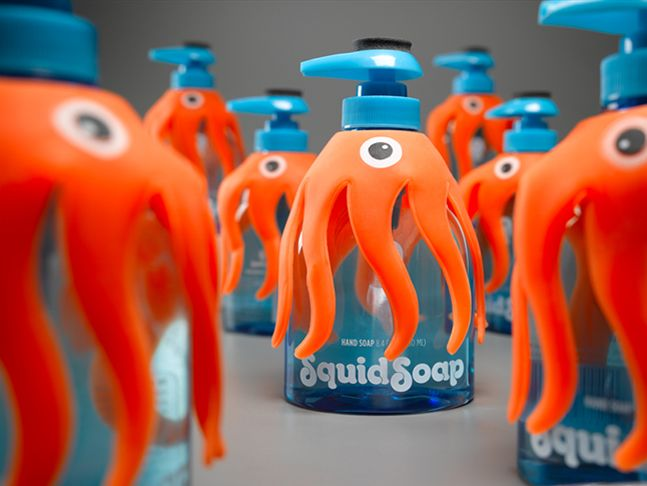 Squid soap - perfect packaging to keep those little monsters clean.