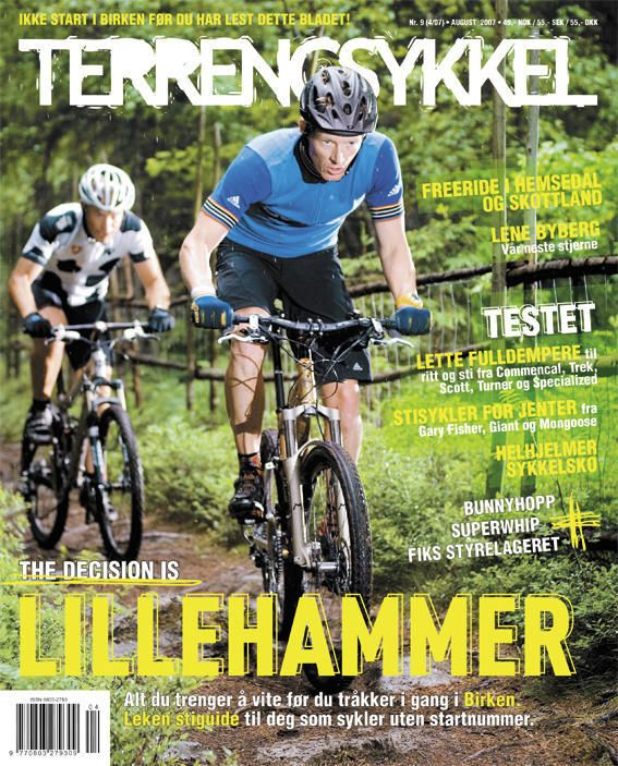 The front page of many outdoor magazines are very busy. Example of norwegian MTB magazine: TERRENGSYKKEL.