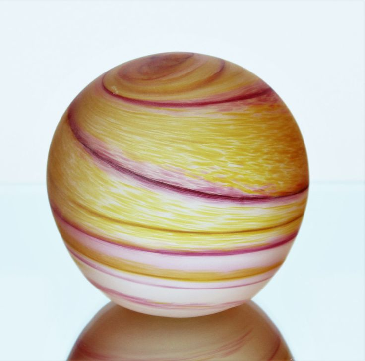 Jupiter Planet Orange & Red Swirl Pattern Blown Glass Paperweight Ornament by GillardAndMay on Etsy