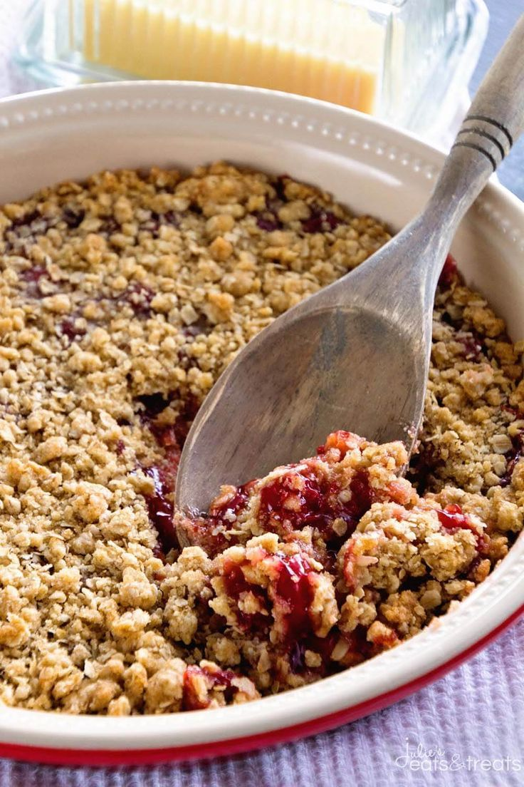 Cherry Crumble Pie ~ Quick, Easy and Delicious Cherry Dessert! Tons of Crunchy Crumb Topping and a Delicious Crumb Crust with Cherry Pie Filling! ~ http://www.julieseatsandtreats.com