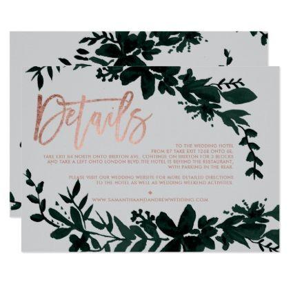 Rose gold script Floral grey wedding direction Card - wedding invitations diy cyo special idea personalize card
