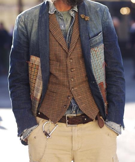 fabrics....on so love the idea of masculine fabrics sewn to this denim jacket......