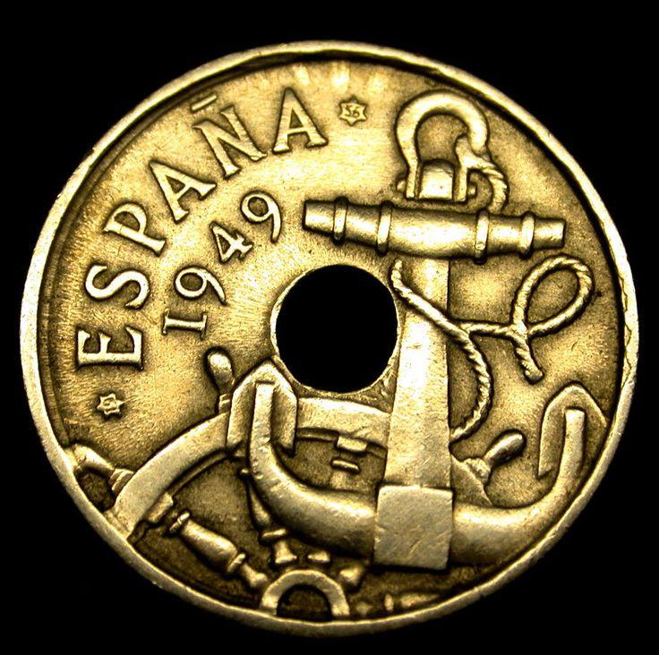 1949 Spain 50 Centimos Captain's Wheel & Anchor