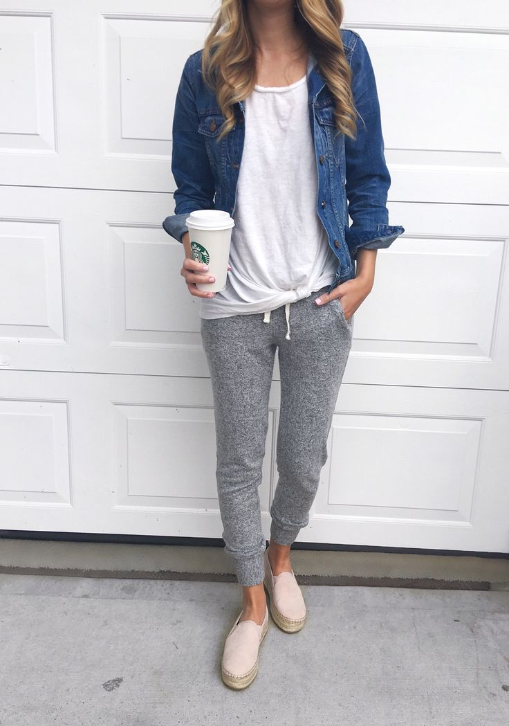 Casual Everyday Style Spring Jogger Sweats With Denim Jacket