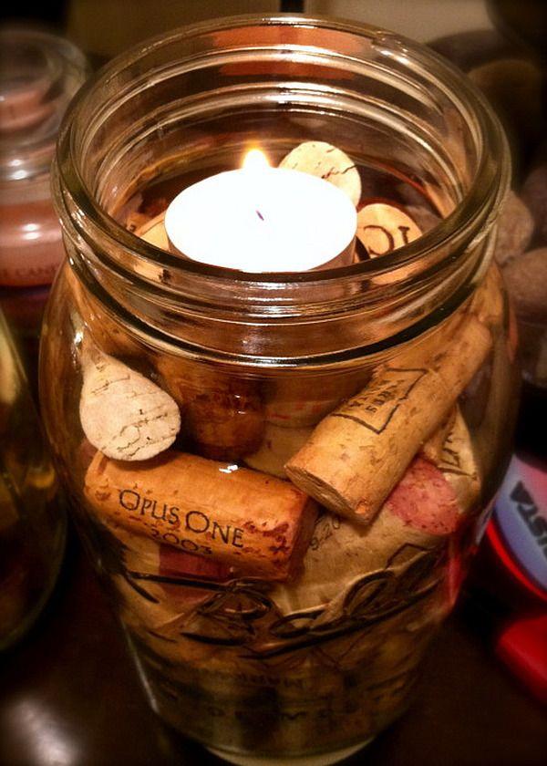 Rustic DIY candle holder – jar filled with wine cork