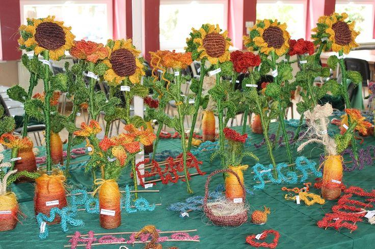 Macrame Sunflowers made by children I teach