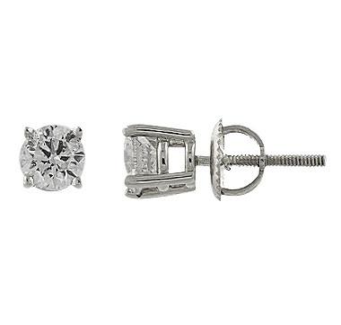 14K Gold Diamond Earrings - WHITE GOLD    #ilovetoshop