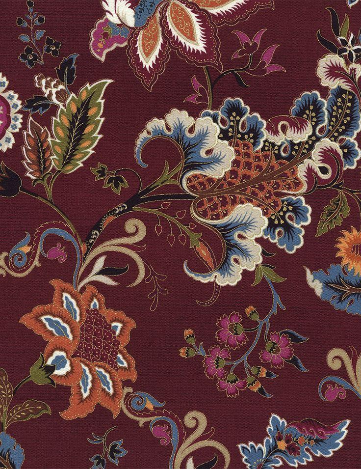 Timeless Treasures - Tivoli-CM4853-Wine Jacobean Floral