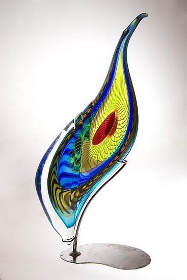 Peacock Sculpture: Mike Wallace: Art Glass Sculpture - Artful Home