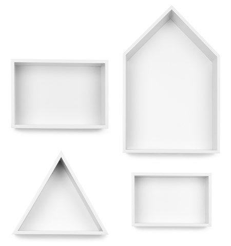 JOXin hyllyt neljän kappaleen pakkauksessa. Pakkaus sisältää yhden talon mallisen, kaksi suorakaiteen mallista ja yhden kolmion mallisen hyllyn. Hyllyjen geometriset muodot täydentävät toisiaan ja muodostavat yhdessä tyylikkään ja