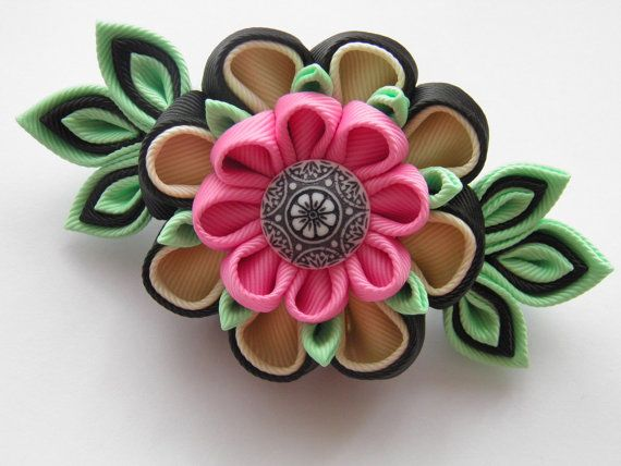Handmade kanzashi flower french barrette. The handmade Kanzashi flower made of grosgrain ribbon is apprx.10x5 cm.(4 x 2) ,with a glass bead