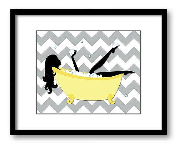 Yellow Grey Gray Bathroom Decor Bathroom Print by CustomArtPrints