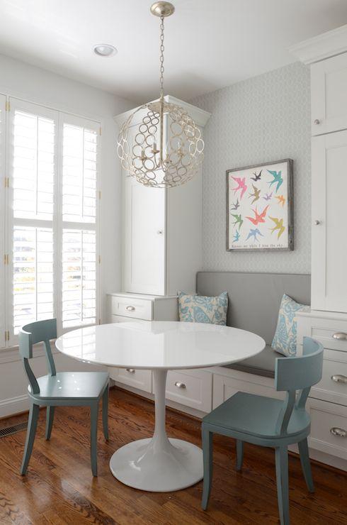 Finnian's Moon Interiors - kitchens - Tartufo Chandelier, hardwood floors, plantation shutters, window shutters, white shutters, breakfast b...