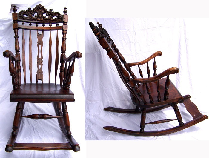 Antique Rocking Chair Hand Carved Baroque Mahogany Victorian Country French  Or Colonial Indonesian With Footrest