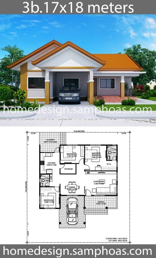 Best Modern House Plans House Design Plans 17x18m With 3 Bedrooms House Construction Plan House Plan Gallery Affordable House Plans