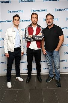 Matt Bomer, Ryan Gosling and Russell Crowe attend the SiriusXM's 'Town Hall' With The Cast Of 'Nice Guys' on May 12, 2016 in New York City.