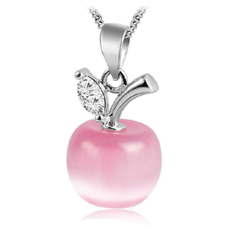 2016 Christmas Gift Lovely Cute Pink White Opal Apple Shaped Pendants Necklace For Women Child Fashion Jewelry