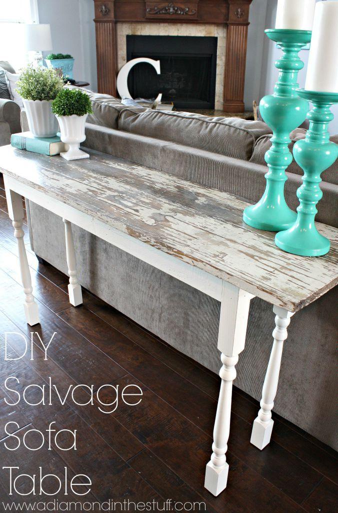 DIY Salvage Sofa Table | A Diamond in the Stuff