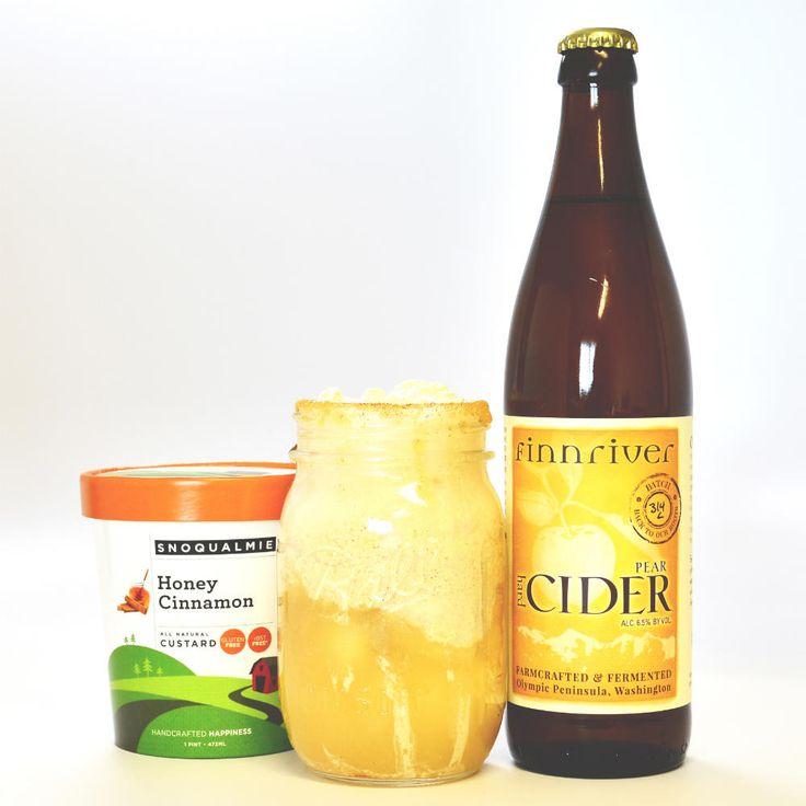 Honey Cinnamon and Pear Float - Snoqualmie Honey Cinnamon Ice Cream, Perry (or Pear Hard Cider)