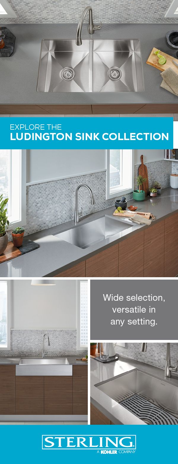 14 best stainless steel kitchen sinks images on pinterest kitchen deep basins stainless steel finishes and accessories make this varied collection practical and beautiful kitchen sinkskitchen workwithnaturefo