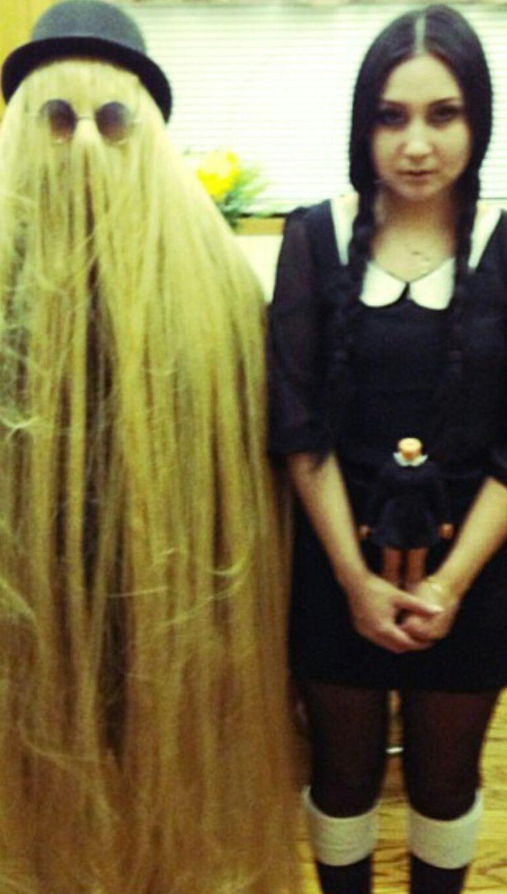 """Halloween Costume Ideas - """"The Addams Family"""" Cousin It & Wednesday Addams Costume #Halloween #CouplesCostume #Cosplay #TheAddamsFamily #CousinIt #Wednesday #WednesdayAddams #CreepyCool #CreepyGirlsClub #CreepyGirls #CreepyGirl #HalloweenQueen #Goth #Gothic #Gothabilly #GothGirl #GothLife #GothStyle #Alternative #Macabre"""