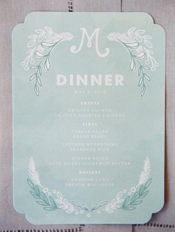 Elegant wedding reception menu card idea; photo: Michelle Boyd