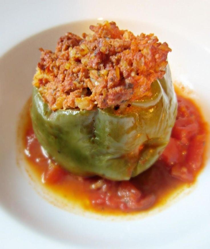 Stuffed peppers are filling, easy to make and I would go so far as to serve them to company.  It's just a good home-made meal that most of us like ~ a great comfort food, for sure. Green bell peppers are pretty, colorful to look at, and if you prefer red bell peppers for the color, use them.  It's a great thing ~ your whole meal in a stuffed pepper, veggies, carbs and protein!  And eating them makes a super supper!