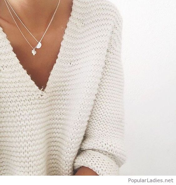 white-sweater-with-amazing-silver-necklaces