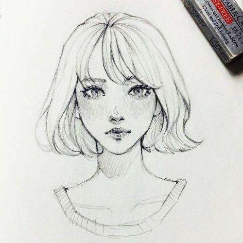 Рисунки карандашом для срисовки девушки: легкие в стиле ...
