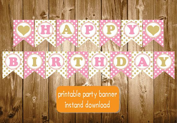 Happy Birthday Gold Pink Heart Banner Printable Chevron