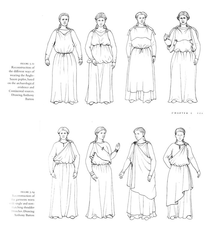 "Reconstruction of the ways of wearing the Anglo-Saxon peplos based on archeological evidence and Continental sources. ""Cloth and Clothing in early Anglo-Saxon England"", Penelope Walton Rogers."