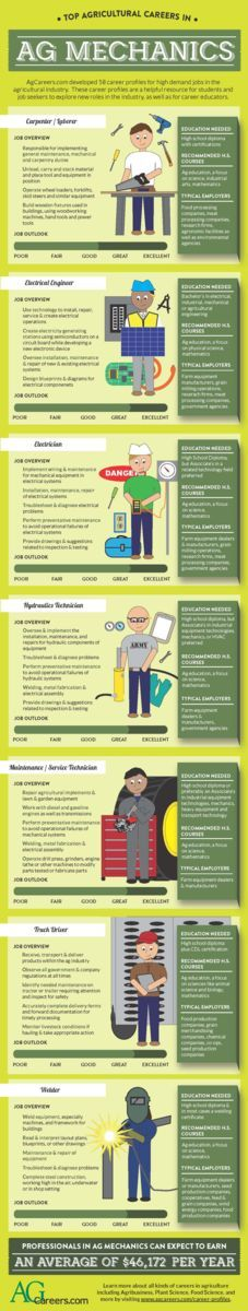 Infographic- Title: Top Agricultural Careers in Ag Mechanics. Image Text:  AgCareers.com developed 58 career profiles for high demand jobs in the agricultural industry. These career profiles are a helpful resource for students and job seekers to explore new roles in the industry, as well as for career educators. Carpenter/Laborer:  Job overview- Responsible for implementing general maintenance, mechanical and carpentry duties, unload, carry and stack material and place tool and equipment in…