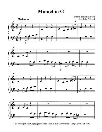 Minuet in G simplified, J.S. Bach, Christian Petzold, BWV 114.