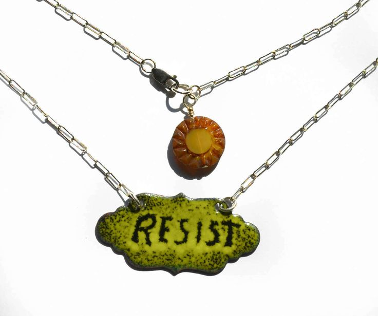 RESIST Sgraffito Necklace Vitreous Enamel by PrayerMonkey on Etsy