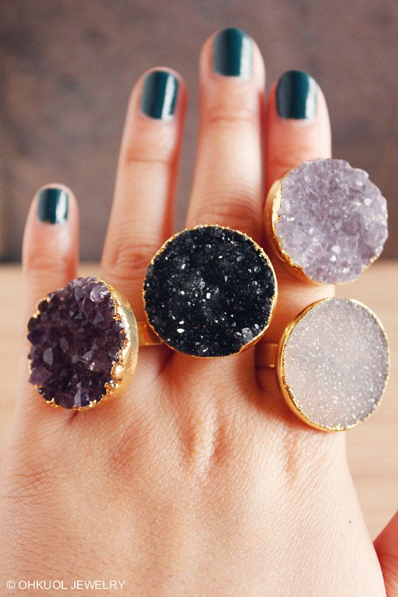 Gold Druzy Quartz Rings  Agate Druzy Ring  Adjustable by OhKuol, $35.00