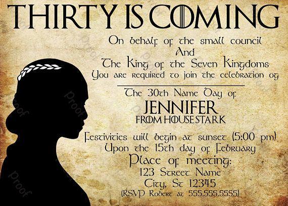 Digital Game of Thrones birthday invitation