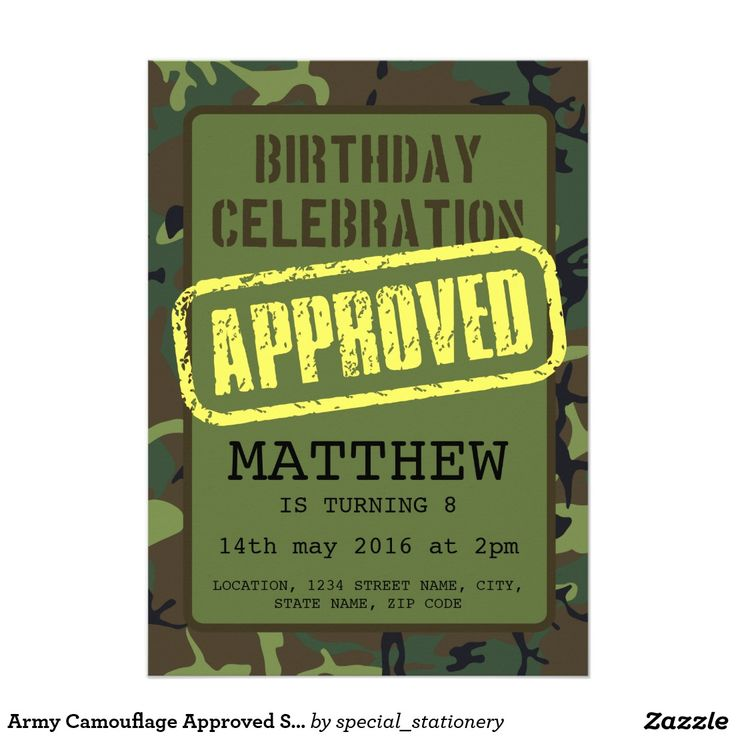 Army Camouflage Approved Stamp Kids Birthday 13 Cm X 18 Cm Invitation Card