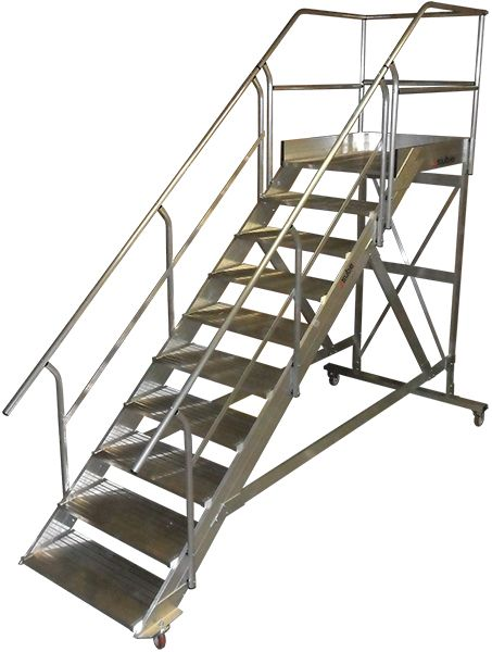Escalera móvil de aluminio. Mantenimiento de aviones