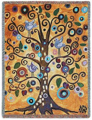 Tree Of Life Natasha Wescoat Blanket. Contemporary and colorful Tree of Life Blanket Throw design by Wescoat. It's a great artwork to liven up most rooms with great color. Natasha Wescoat creates a modern fun work of art design with a whimsical contemporary tree on a vibrant colored background. Small birds adorn the branches in this beautiful tree of life afghan.