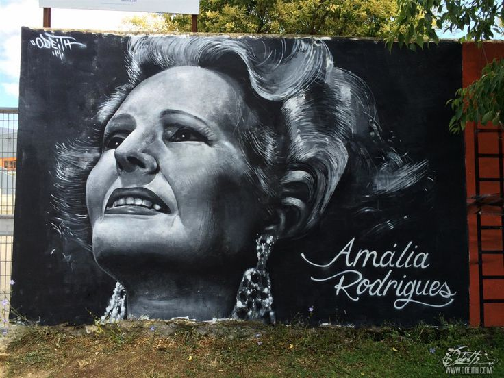 Amalia Rodrigues street Art Tributo Mural - Black and white Graffiti painting - Damaia  by Odeith
