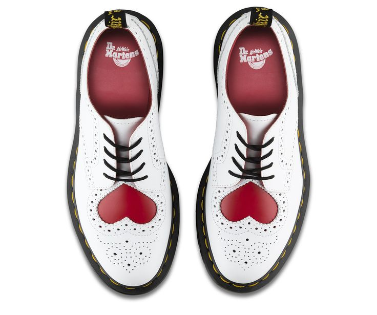 This version of the classic Dr. Martens brogue, with a bright red heart popping against white wingtip styling, is perfect for Valentine's Day vibes. The result: it'll bring joy to even the blackest of hearts. This classic features all the traditional Doc DNA, details including grooved durable rubber soles and yellow stitching - but also serves up red lining and brogue detailing.