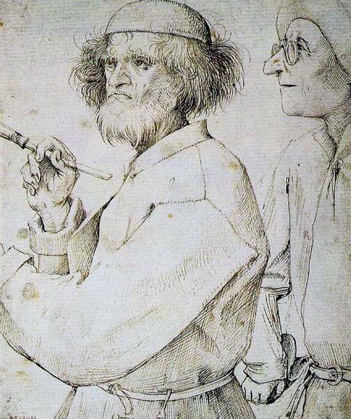 제목 : 화가와 구매자 / 정밀묘사와 생활표현으로 특징지어지는 북유럽 르네상스의 대표화가 피터 드뢰겔(1525~1569)의 작품으로 '화가와 구매자'라는 제목을 갖고 있지만, 본인의 자화상으로 추정되고 있다. 드뢰겔은 농촌의 삶을 주로 그려왔기에 밀레와 자주 비교되며, 밀레가 농부들의 삶에 녹아 들어 갔다면, 브뢰겔은 어느 정도 거리를 두고 냉정하게 바라 보았다는 평을 듣고 있다. 유화를 자주 그렸지만, 이 그림은 펜화이다. / 색채가 없는 펜화이지만 펜으로 가능한 정밀한 선을 통해 화가의 상태를 표현한 듯 하다. 화가의 주름과 정돈되지 않은 수염과 대비되는 구매자의 반지르해보이는 피부를 통해 당시 화가의 경제적 빈곤을 표현한 듯 하다.