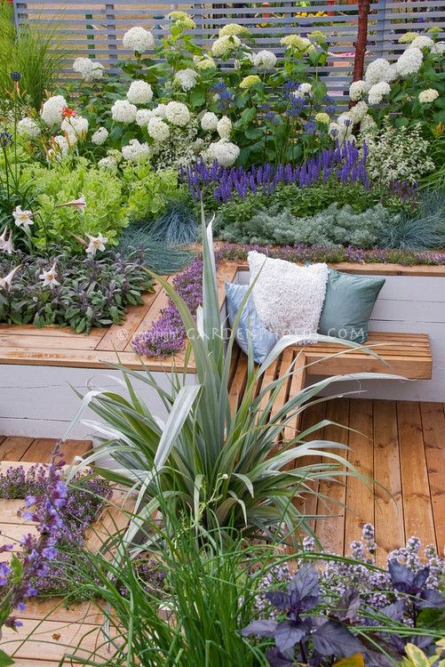 Raised bed seating in beautifully coloured garden